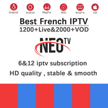 French NEOtv pro iptv subscription+1200 live&VOD Europe Arabic IPTV France abonnement Belgium for android TV box Smart TV box(China)