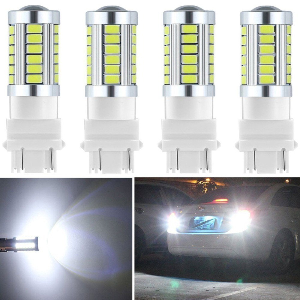 4Pcs/lot 3157 T25 3056 3156 3057 Led Reverse Light 33-SMD 900 Lumens 6000K 12V White