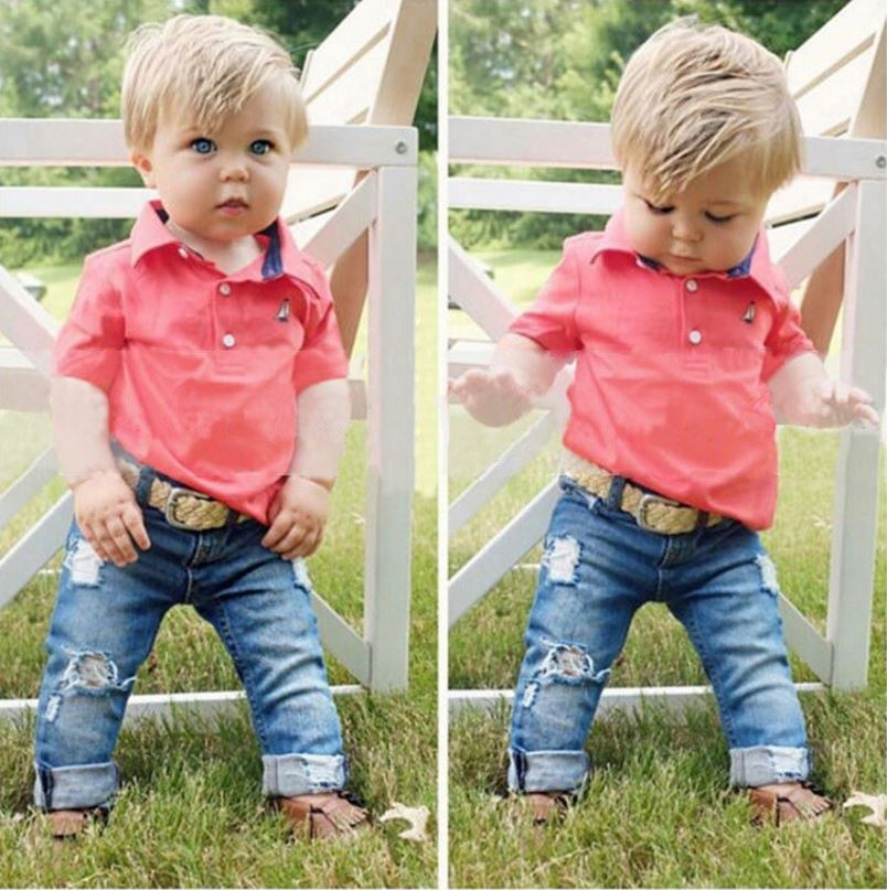 dae3f7187d5a Children s clothing short sleeve polo shirt + jeans 2 pcs set fashion ...