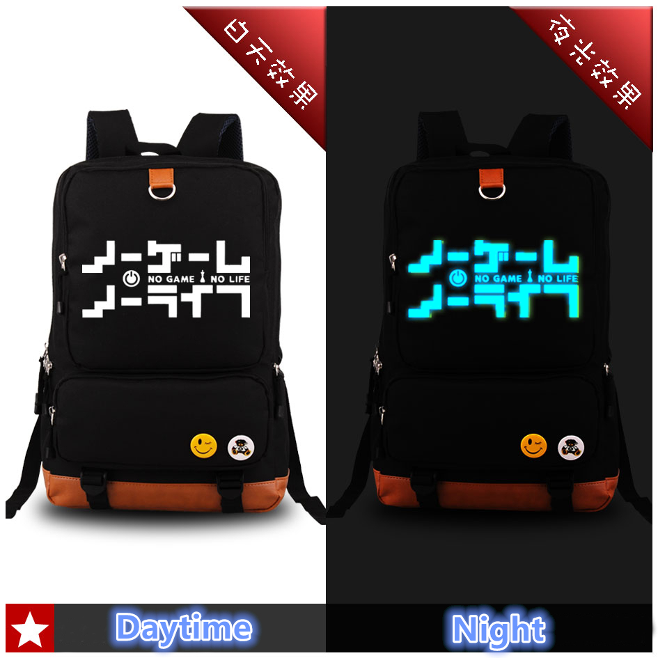 2017 Luminous Canvas No Game No Life Cosplay Printing Backpack Car-styling Fashion Women Backpacks School Bags for Teenagers