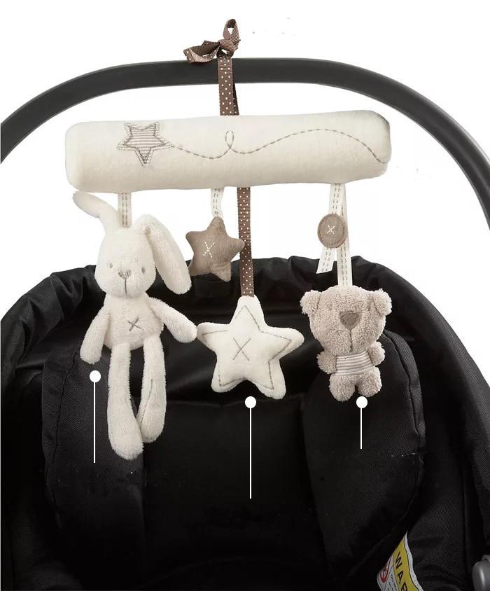 Bébi babakocsi kiegészítők Bölcső zenei mobil kiságy Bell zene doboz tartó karral Babaágy függő csörgőjátékok Újszülött ajándék
