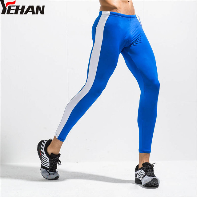 b0dc535191 Yehan Running Tights Men High Elastic Outstanding Fit Leggings Nylon  Comfortable Workout Compression Pants Patchwork Base
