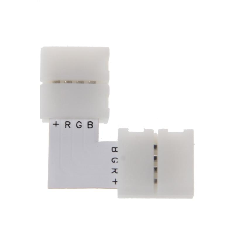 4 Pin LED Connector L Shape Corner Quick Splitter Right Angle 10mm 5050 RGB LED Strip Light