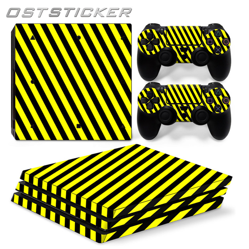 30% off OSTSTCIKER Yellow Vinyl Decal For PS4 Pro Skin Stickers for Sony PlayStation 4 Pro Console and 2 Controllers Decorative