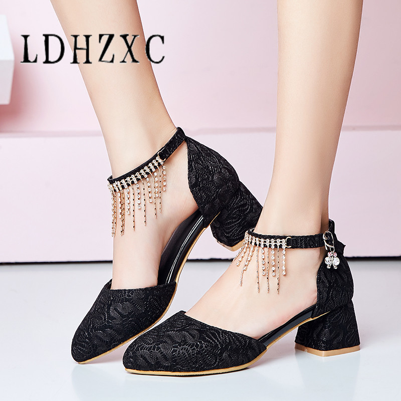 LDHZXC New Arrival Women Pumps Pointed Toe Pu Leather Shoes Buckle Summer Shoes Ladies Casual Wedding Shoes Woman