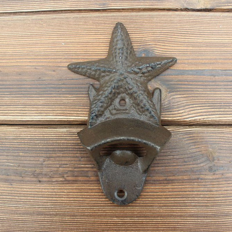 set of 2pcs Vintage Antique Iron Wall Mounted Bar Beer Glass Bottle Cap Opener Bottles Openers Kitchen Tools starfish shaped in Openers from Home Garden