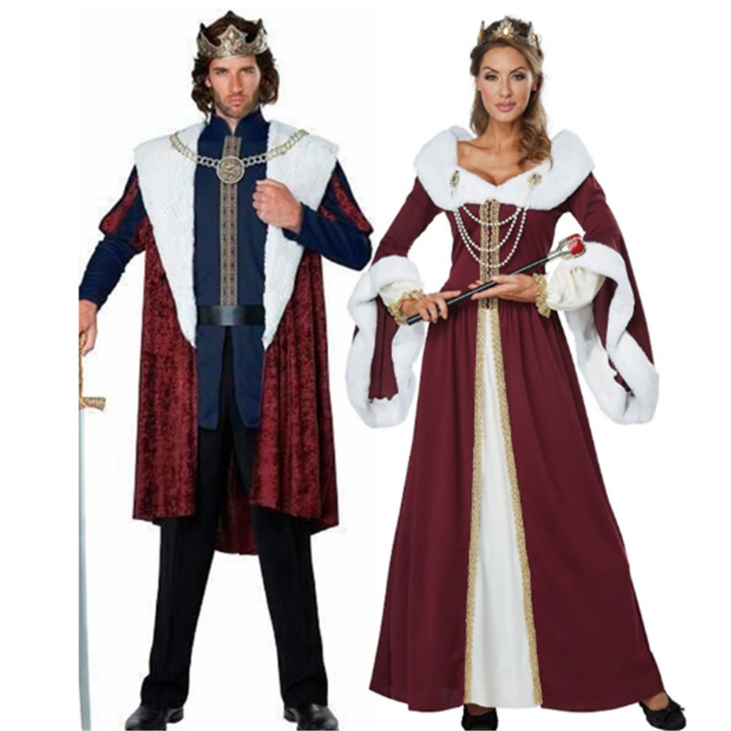 luxurious Halloween Royal retro couple costumes European court king queen Cosplay clothing Christmas Party costume for Couple