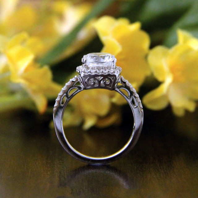 2.75CTW Rectangle Cut Simulated Diamond 925 Sterling Silver with Gold Wedding Engagement Ring