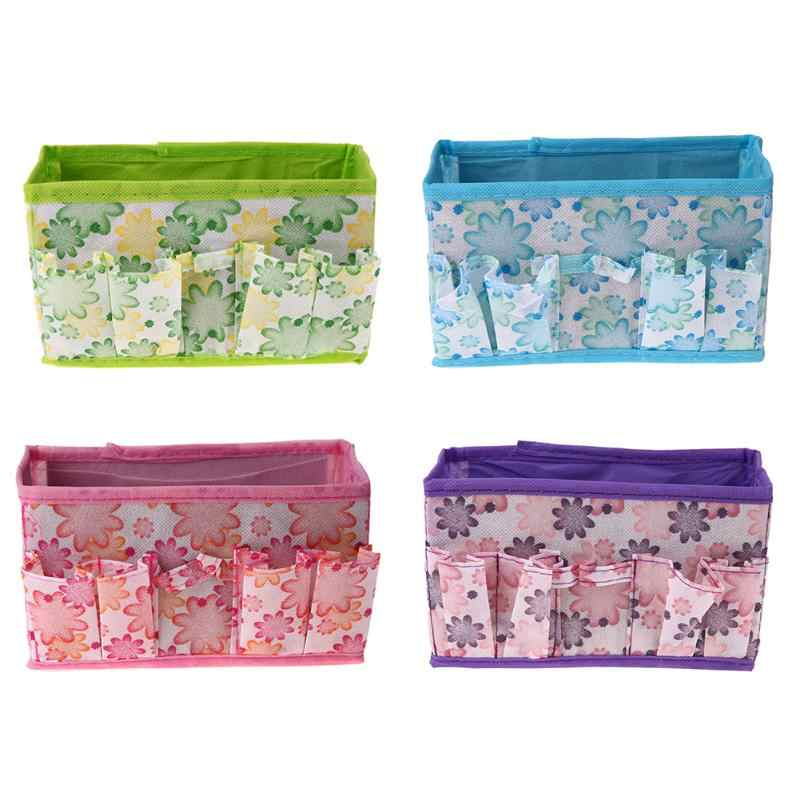 Foldable Cosmetic Storage Box Make Up Organizer Desktop Dressing Jewelry Storage Box Small Bag Non-woven Makeup Case Colorful