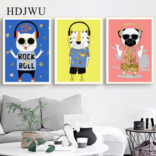 Morden Art Home Canvas Painting Wall Picture  Blue Yellow Pink Dog Cat Tigger Printing Posters for Living Room Decor DJ96