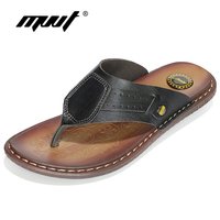 2017 Classics Summer Slippers Men Genuine Cow Leather Men Sandals Quality Comfortable Flip Flops Men Slippers