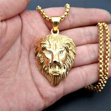Mens Hip Hop Jewelry Iced Out Gold Color Fashion Bling Lion Head Pendant Men Necklace For Gift/present