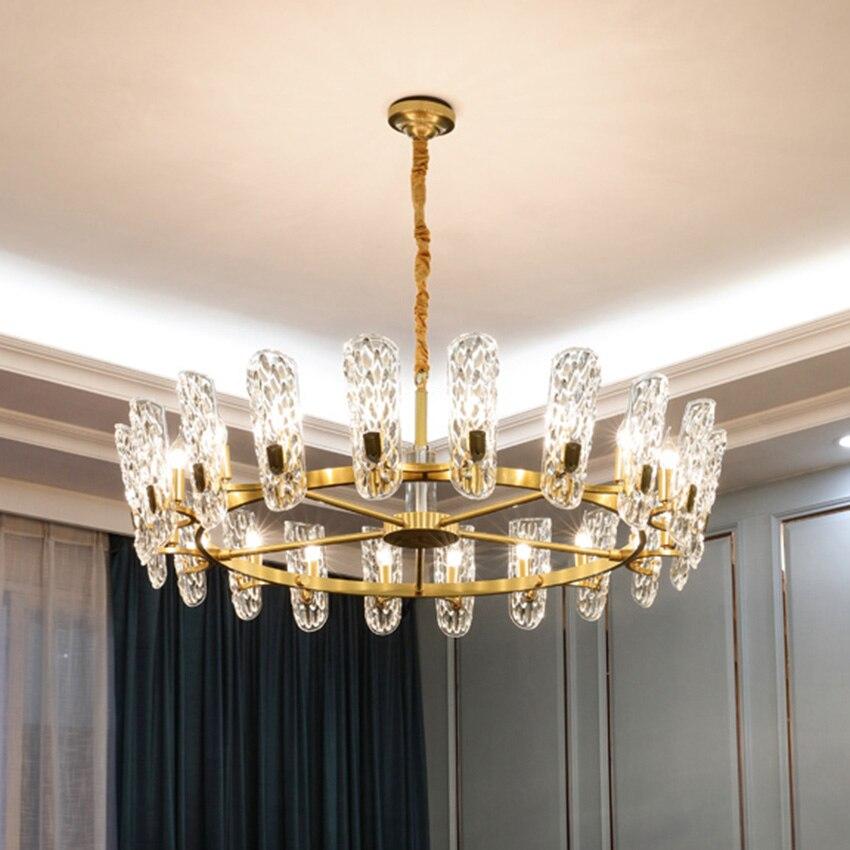 Light Luxury Modern Crystal Chandelier European Style Living Room Lamp Atmosphere Restaurant Lighting Copper Lamp Villa Lamps