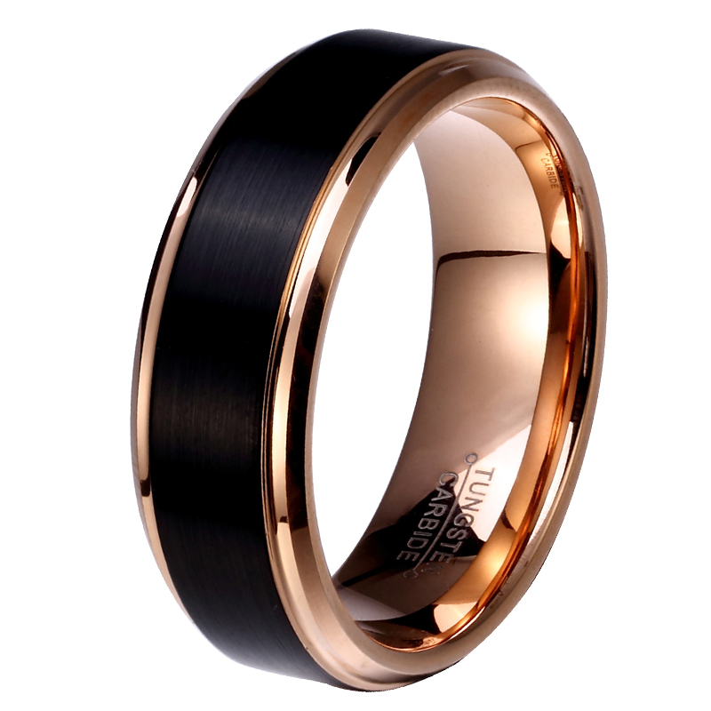 8mm/6mm/4mm Black & Rose Gold Color Tungsten Carbide Wedding Band for Boy and Girl Friendship
