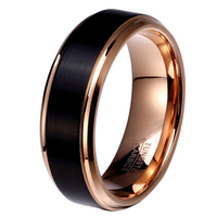8mm 6mm 4mm Black Rose Gold Tungsten Carbide Wedding Band For Boy And Girl Friendship Ring