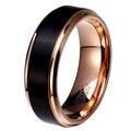 8mm/6mm/4mm black & rose gold plate tungsten wedding band carbide para o menino e menina homens simples jóias amizade anel russa