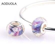 AODUOLA 10pcs purple cut surface beads Fit Pandora Style Crystal Charm Bracelet & Bangle fashion women jewelry SZ-12