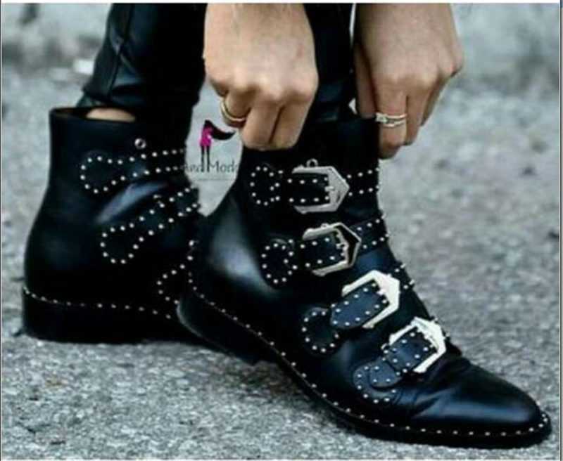 Choudory Western Boots Snakeakin Print Ankle Motorcyle Boot Shoes Women Botas Mujer Rivet Matel Decoration Flat Plus Women Boots