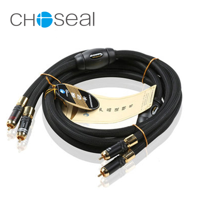 цена на Choseal AB5408 2 rca to 2 rca audio cable single crystal copper speaker cable