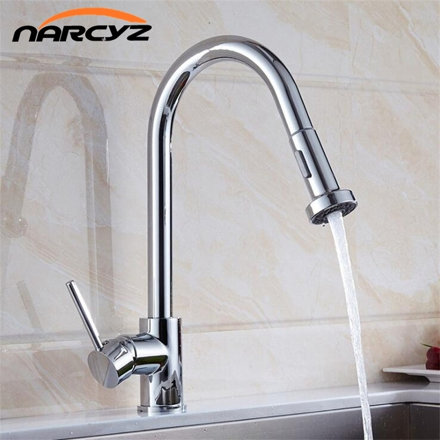 Kitchen Faucet Single Handle Hole Pull Out Spray Brass Kitchen Sink
