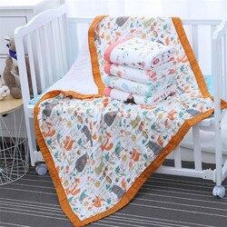 29 стилей 110*110 см 120*150 см 6-слойное муслиновое хлопковое детское спальное одеяло Пеленальное дышащее детское одеяло