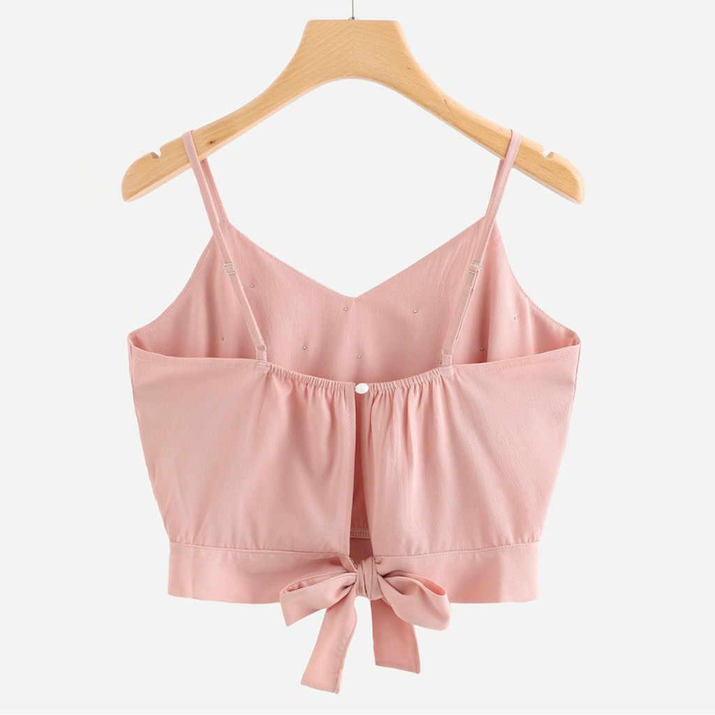 Fashion Dames Vest Chiffon Cropped Tank Tops Dames Hemdje Mouwloze Tops Solid Parel Kralen Camis Regata Feminina 2020 Nieuwe
