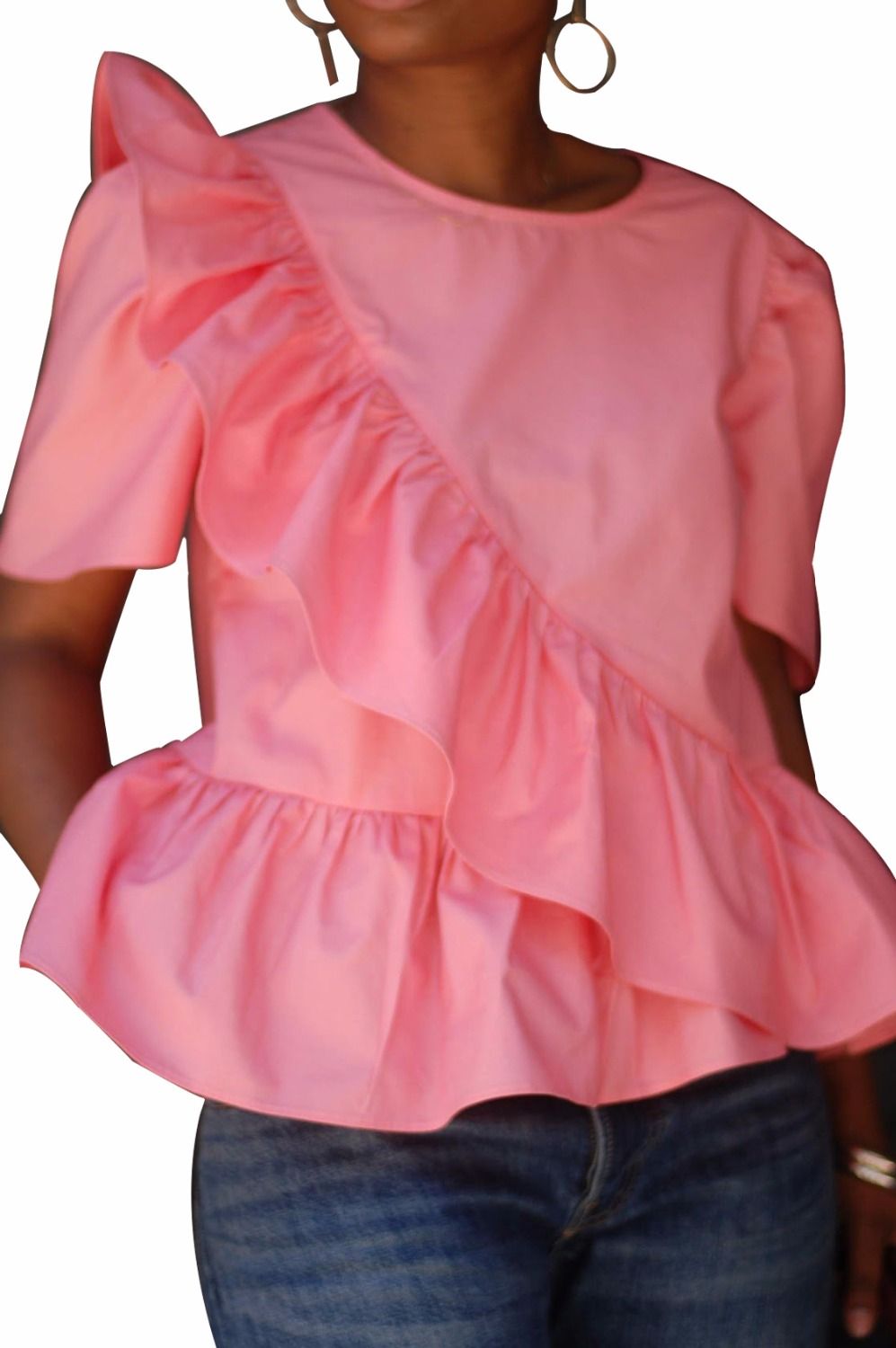 2018 New Short Sleeve Ruffles Tops Solid Women   Blouses     Shirts   Red White Pink