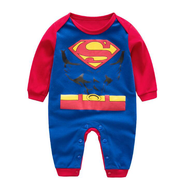Детский комбинезон с длинными рукавами для мальчиков и девочек, Рождественский костюм для Хэллоуина с изображением Супермена и Человека-па...