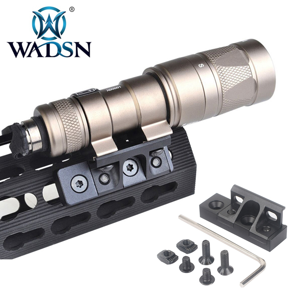 WADSN Tactical Flashlight Base Mlok Keymod Rollover Light Mount For Surfire M300/M600/M300V/M600V/M600B Softair Scout Lights