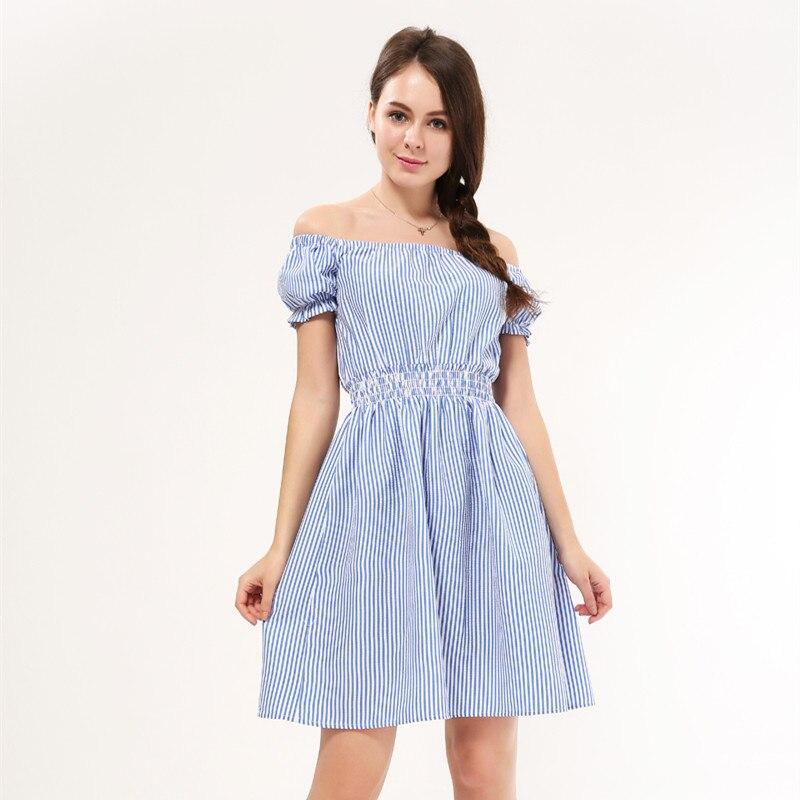 Sweet Striped Summer Dress Casual High Waist Puff Sleeve Beach Mini Dress Square Collar A-line Vestidos