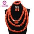 Gran Regalo de la Joyería de Coral Perlas Del Collar De Coral Con Cuentas de La Boda Real Partido de Inspiración Africana Bisutería Set CNR727
