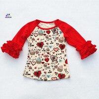 Raglan 2018 meninas Dos Namorados atacado gelo plissado plissado camisa raglan Tshirt do bebê do algodão top plissado impressão coração vermelho