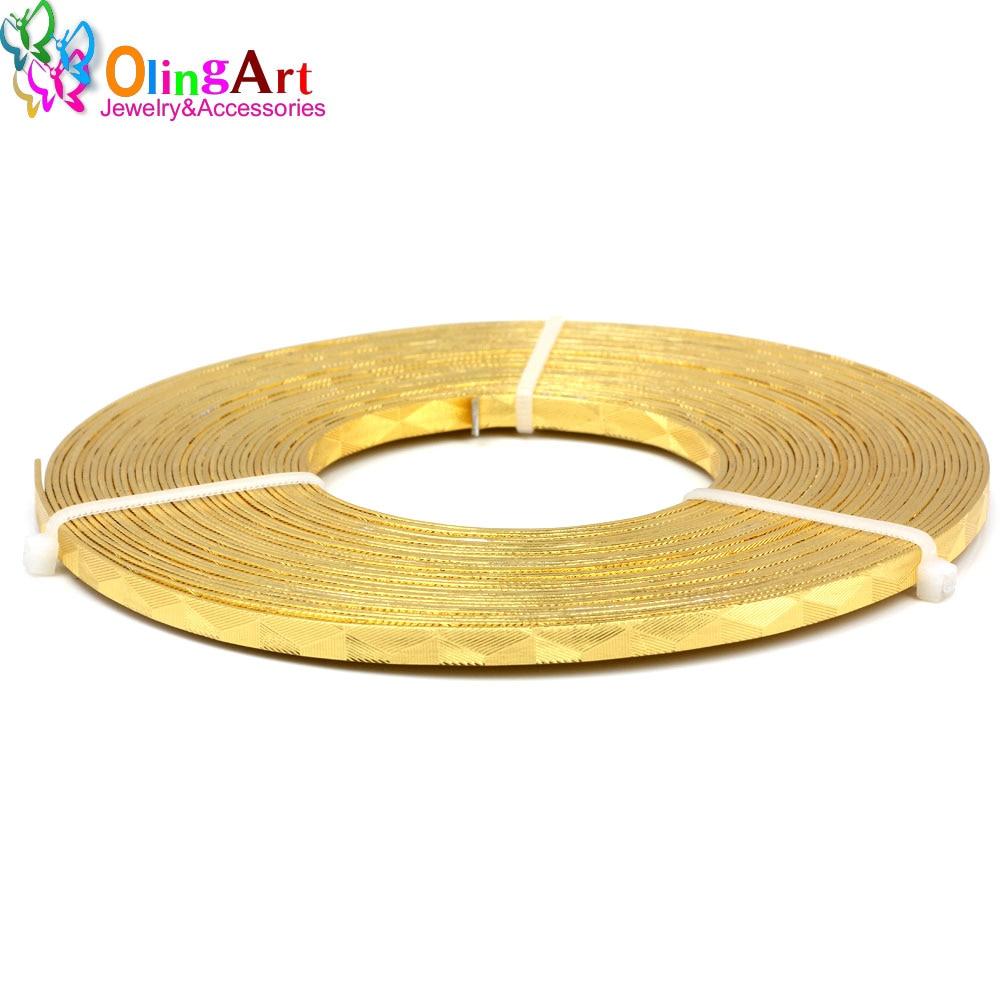 OLINGART 10m/Lot 5X1mm triangle printed Flat Aluminum wire Gold ...