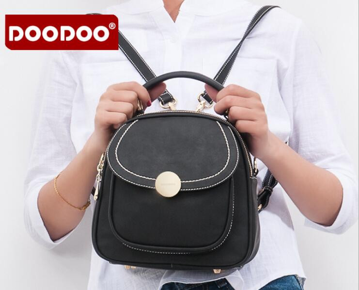 DOODOO Brand 2018 New High Quality PU Leather Small Backpack Women Fashion Style Bags Balck mochila feminina FR389 fashion new women students lovely canvas backpack college small cartoon print sathel multifunction travel bags mochila feminina