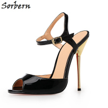 Sorbern Unisex Plus Size Eu40-50 Women Sandals Metal High Heels Open Toe Ankle Straps Red Bottom Shoes Women Heels New Arrival