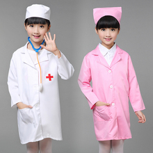 Child Halloween Cosplay Costume Kids Doctor Costume Nurse Uniform Girls Game Clothing Wear Clothing for Party  with Hat +Mask 89