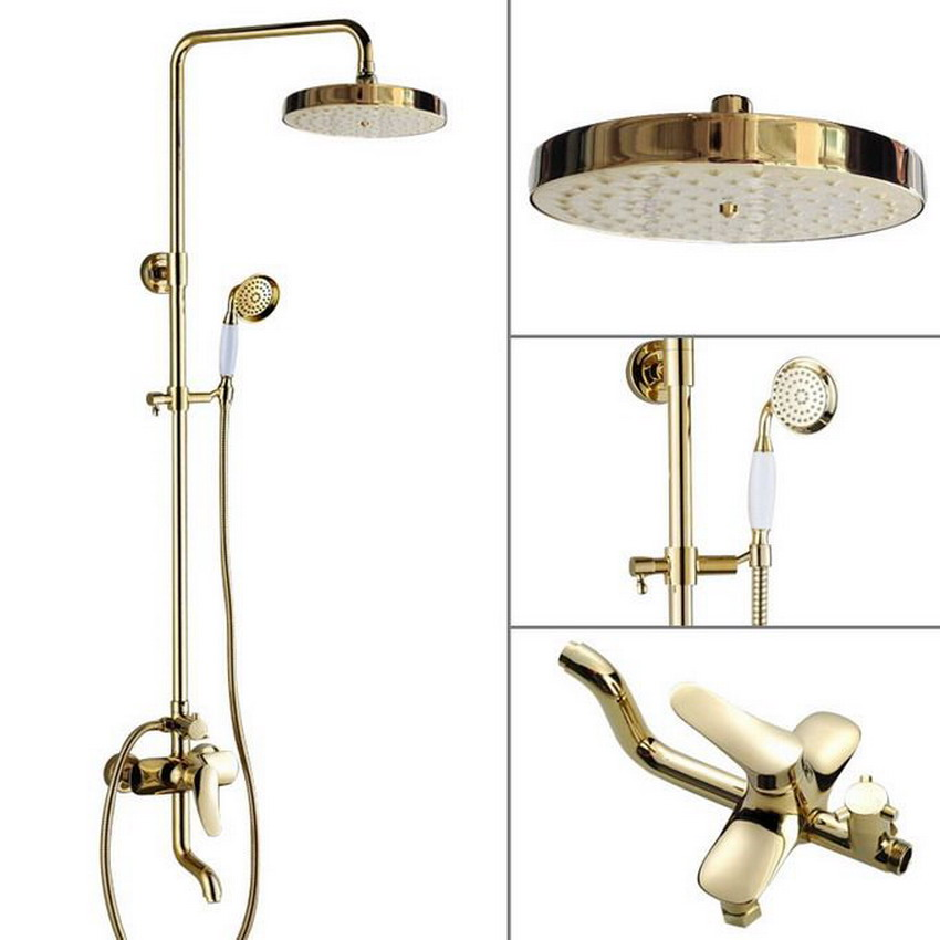 7.7 Bath Rain Shower System with the Shower Head & Hand shower Set Rain & Hand Shower & Tub Spout Set (Gold Color Brass)agf315