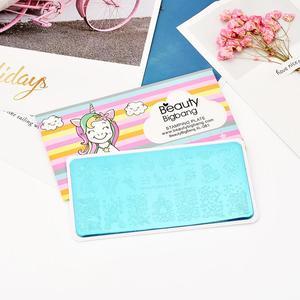 Image 3 - Beautybigbang 6*12CM Stamping Plates XL 081 Cloud Star Cute Unicorn Pattern Nail Art Stamping Plate Printing Image