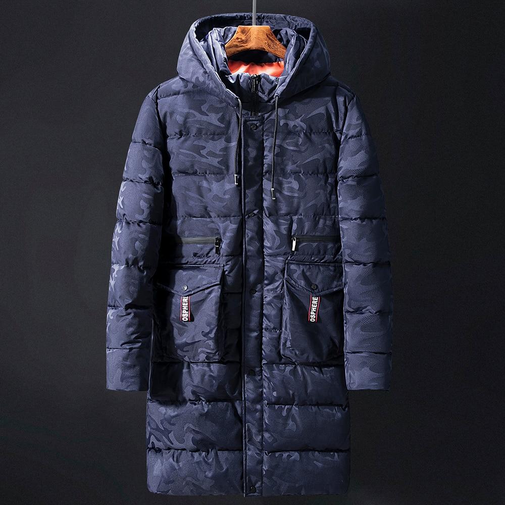 6XL 8XL 10XL Camouflage Winter Men   Parkas   Casual Long Jacket Outwear Thicken Warm Hooded Outwear Coat Windproof Blue Deep grey