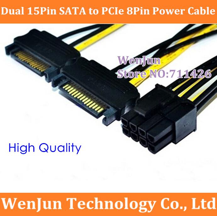 Prix pour 20 PCS NOUVEAU Double 15 Broches SATA Mâle à PCIe 8Pin (6 + 2) Mâle Puissance Adaptateur Câble haute Qualité 18AWG