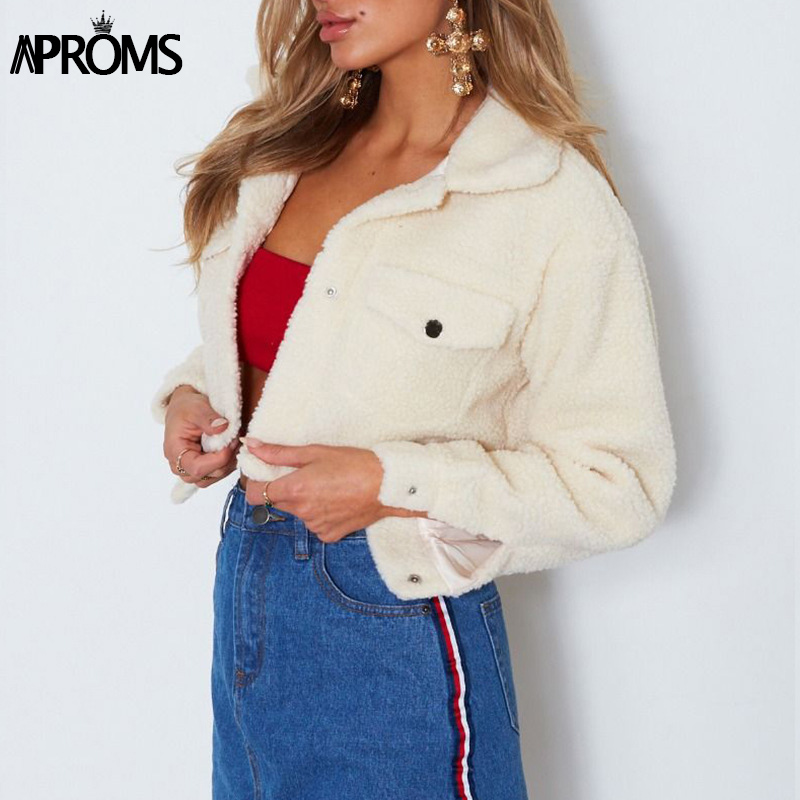 Aproms Elegant Solid Color Cropped Teddy Jacket Women Front Pockets Thick Warm Coat Autumn Winter Soft