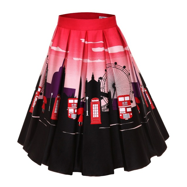 30- summer women vintage 50s ferris wheel pleated Skirt in red plus size  rockabilly pinup faldas cotton skirts 73124777bf7e