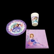 Disney Princess Sofia Party Decoration Supplies Paper Plates Napkins Cups Disposable Tableware Set For Baby Shower
