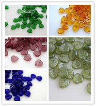 """9MM 50Pcs/Pack Mixed Colors """"Heart Leaf """" Czech Glaze Glass Crystal Bead Jewelry Loose Beads"""