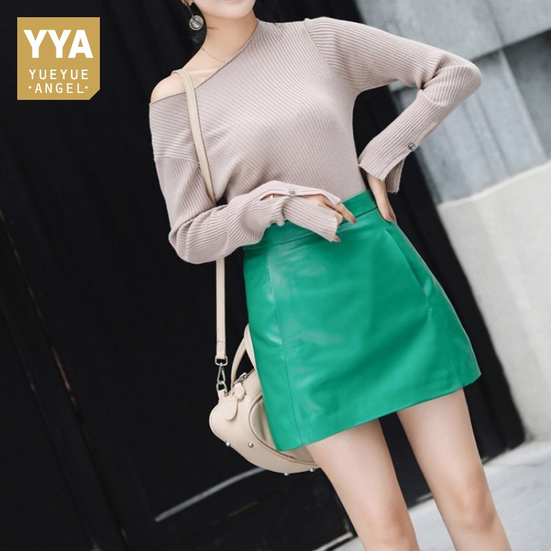 Hot Selling Sexy Women Bandage Sheepskin Skirt Autumn Fashion Clothes For Ladies Zipper High Waist Leather Skirt Women Green Red