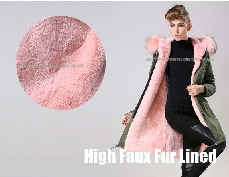 Factory wholesale price Women's Vintage Retro Fur Hooded Military Parka Jacket Coat with pink lined and collar fur mr 35