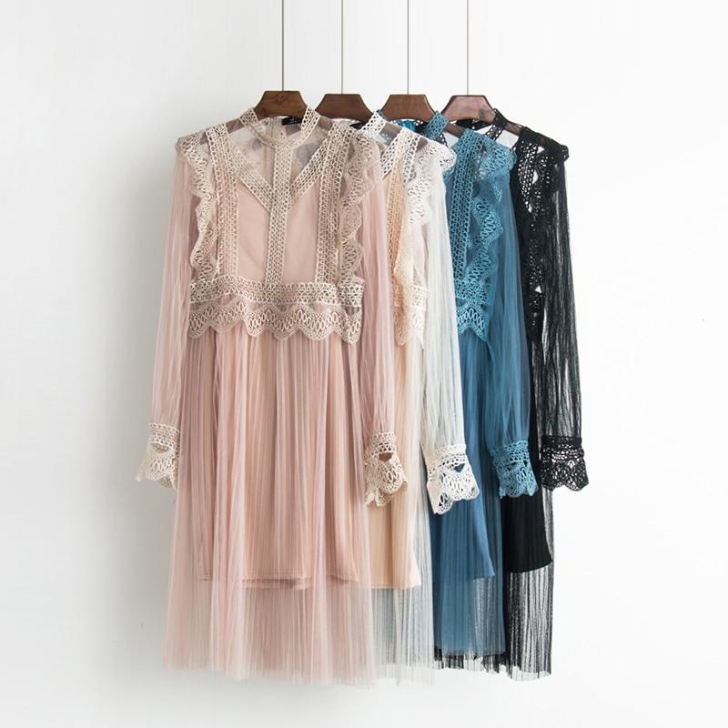 2017 Autumn new female ruffles sweet gauze lace pressure pleated one-piece dress women's waist slim full dress twinset 1