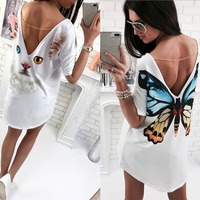 2017 Fashion Casual Cat Butterfly Printed O Neck V Backless Short Sleeve Loose White Mini Dress