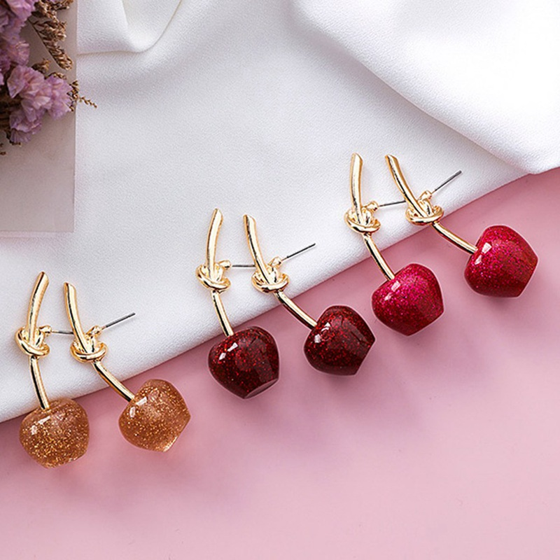 Creative Cherry Stud Earrings Fashion Jewelry Romantic Gold Color Knot Cute Red Resin Acrylic Fruit Earrings For Women