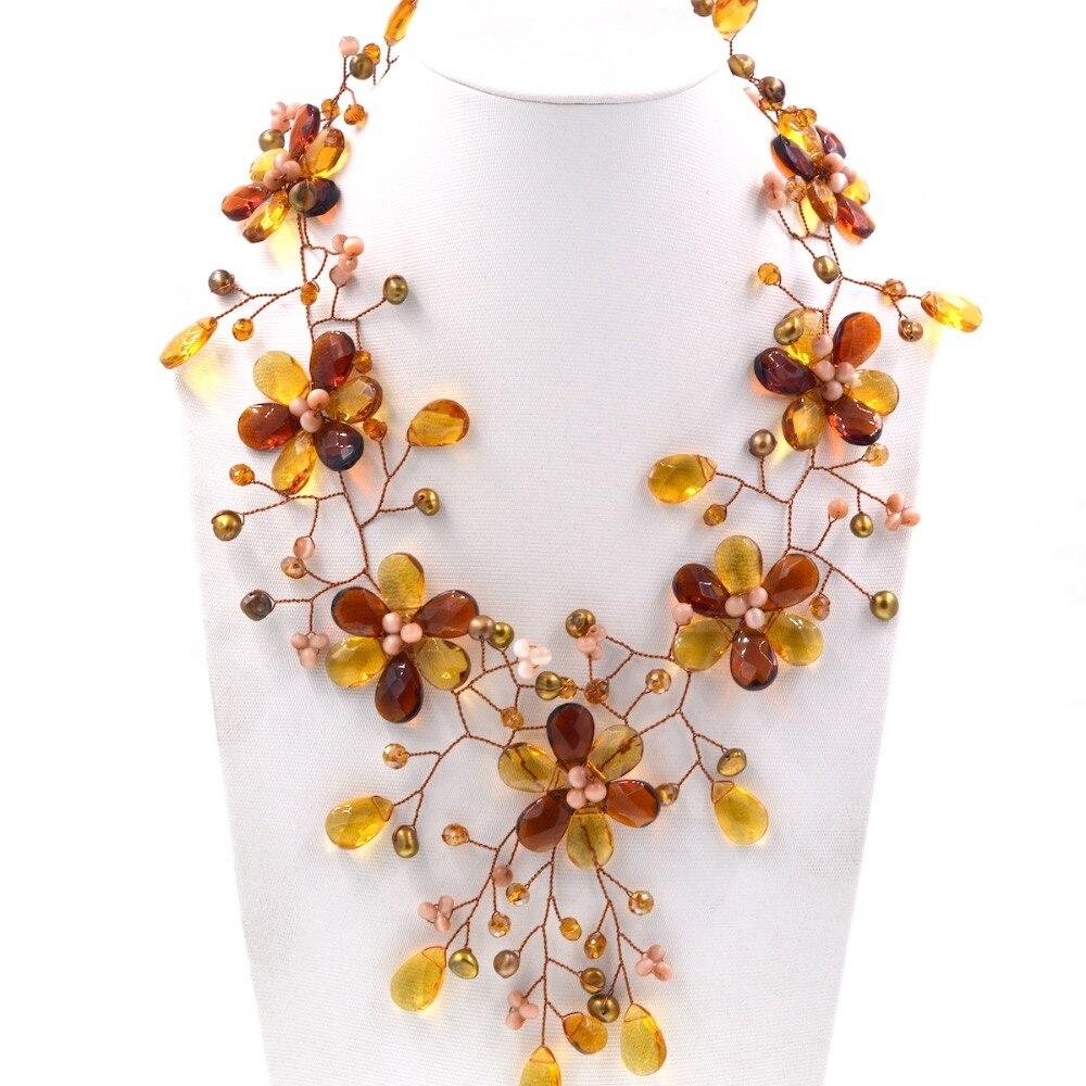 Nieuwe Collectie Mode sieraden Geel En Bruin Ambers Kleur Kristal Bloem Ketting Choker Kettingen Bijoux